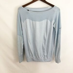 Nike Dri Fit long Sleeved blue workout top small